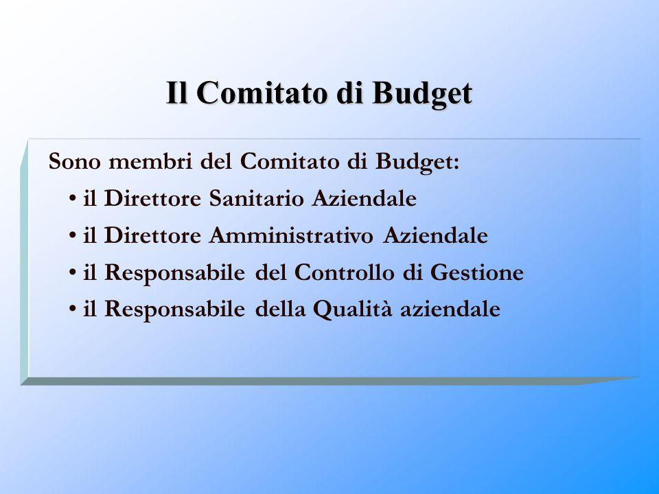 Il Comitato di Budget Sono membri del Comitato di Budget: il Direttore Sanitario Aziendale il Direttore Amministrativo Aziendale il Responsabile del C