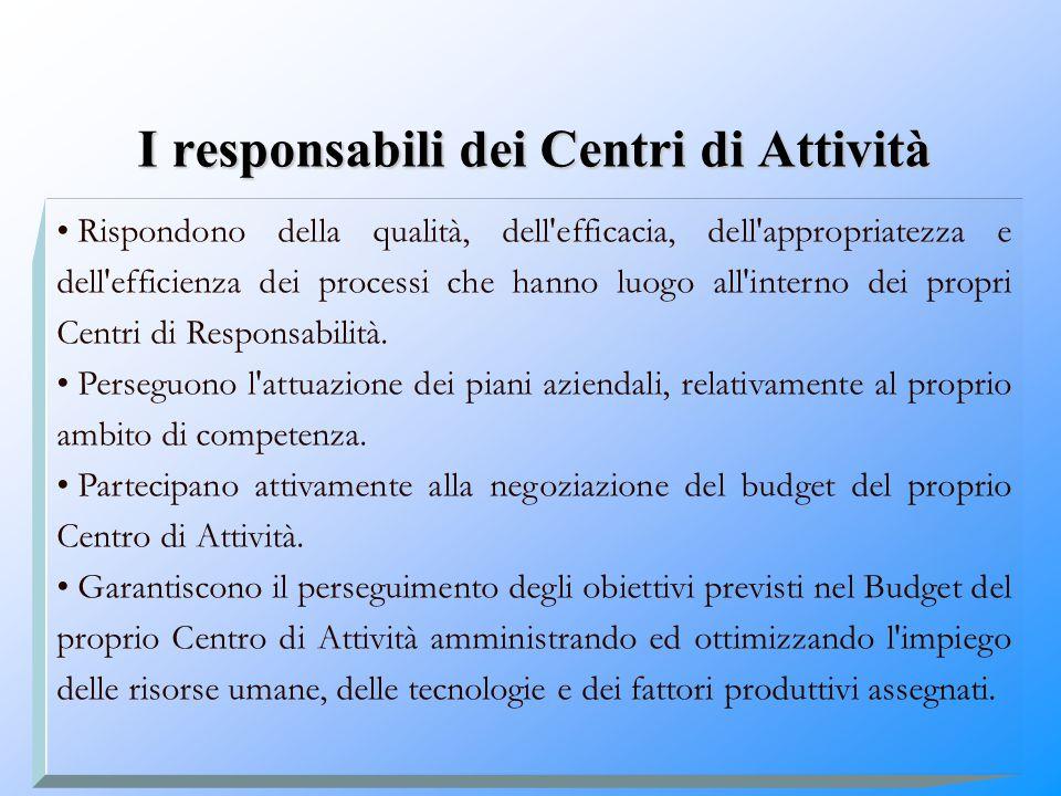 I responsabili dei Centri di Attività Rispondono della qualità, dell'efficacia, dell'appropriatezza e dell'efficienza dei processi che hanno luogo all