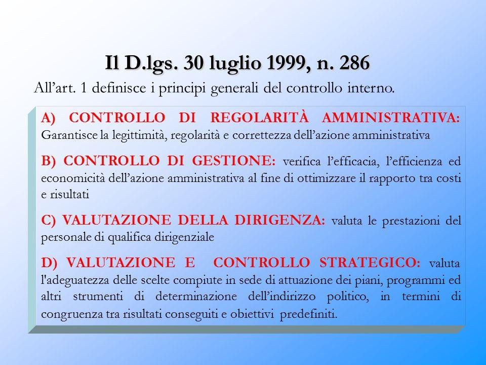 Il D.lgs. 30 luglio 1999, n. 286 All'art. 1 definisce i principi generali del controllo interno. A) CONTROLLO DI REGOLARITÀ AMMINISTRATIVA: Garantisce