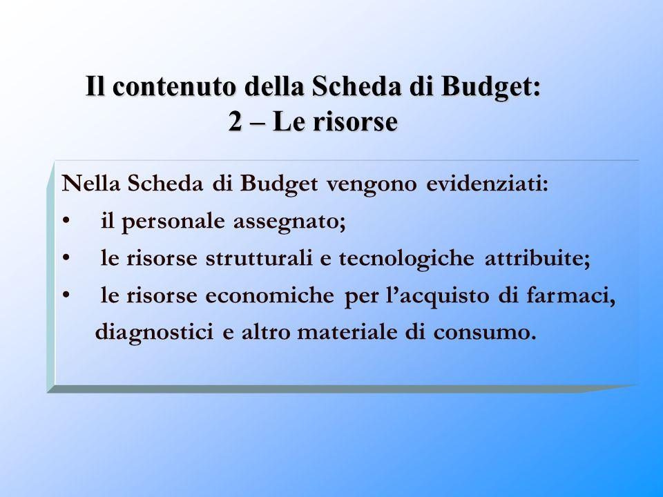 Il contenuto della Scheda di Budget: 2 – Le risorse Nella Scheda di Budget vengono evidenziati: il personale assegnato; le risorse strutturali e tecno