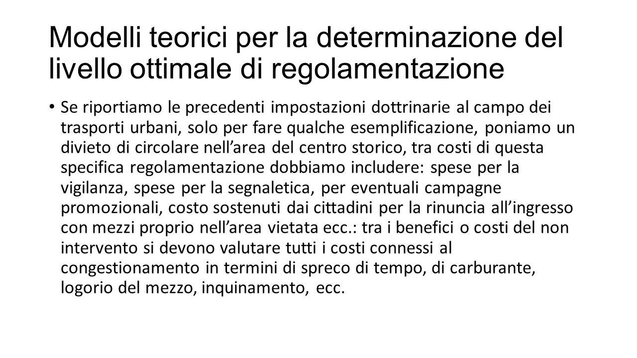 Modelli teorici per la determinazione del livello ottimale di regolamentazione Se riportiamo le precedenti impostazioni dottrinarie al campo dei trasp