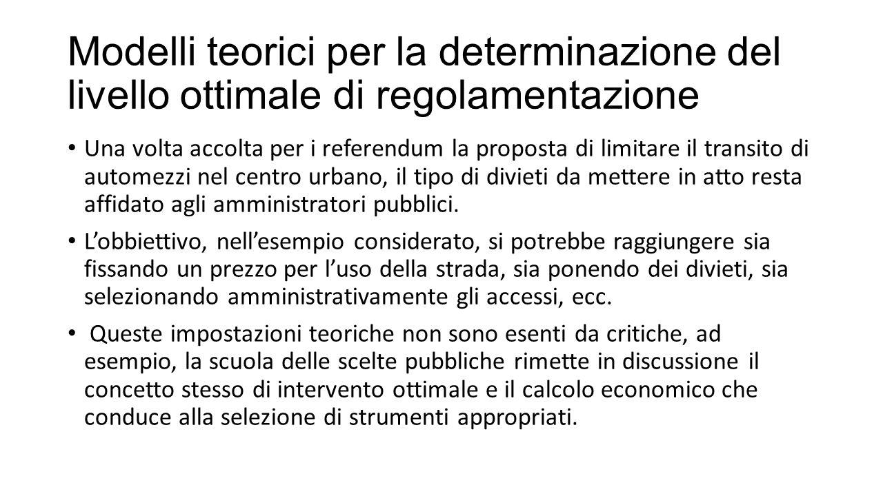 Modelli teorici per la determinazione del livello ottimale di regolamentazione Una volta accolta per i referendum la proposta di limitare il transito