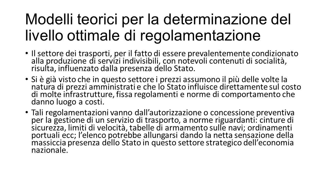 Modelli teorici per la determinazione del livello ottimale di regolamentazione Il settore dei trasporti, per il fatto di essere prevalentemente condiz
