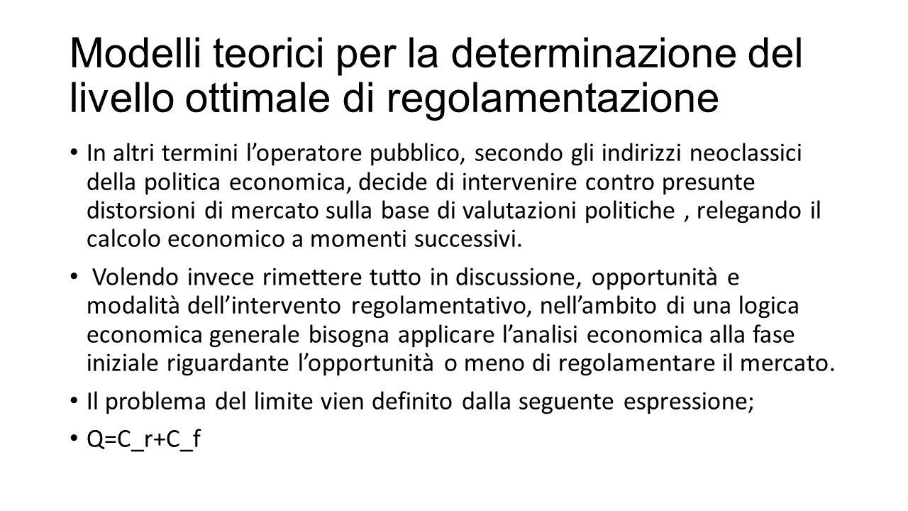 Modelli teorici per la determinazione del livello ottimale di regolamentazione In altri termini l'operatore pubblico, secondo gli indirizzi neoclassic