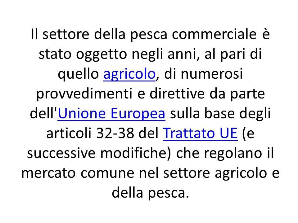 Il settore della pesca commerciale è stato oggetto negli anni, al pari di quello agricolo, di numerosi provvedimenti e direttive da parte dell Unione Europea sulla base degli articoli 32-38 del Trattato UE (e successive modifiche) che regolano il mercato comune nel settore agricolo e della pesca.agricoloUnione EuropeaTrattato UE