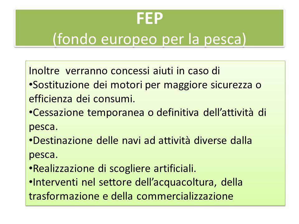 FEP (fondo europeo per la pesca) Inoltre verranno concessi aiuti in caso di Sostituzione dei motori per maggiore sicurezza o efficienza dei consumi. C