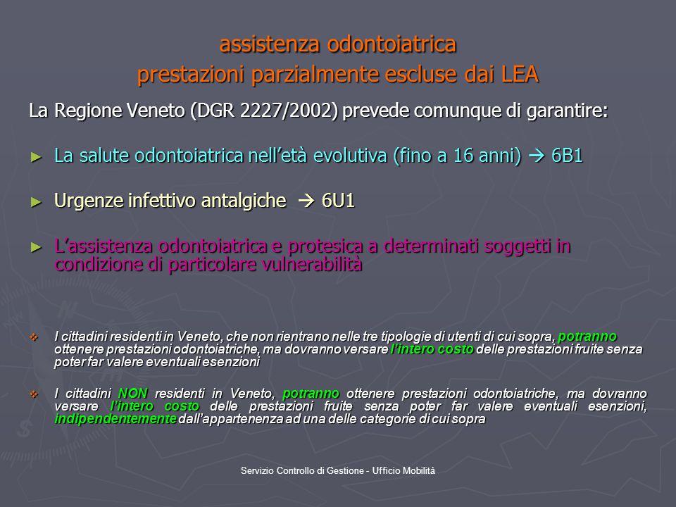 Servizio Controllo di Gestione - Ufficio Mobilità assistenza odontoiatrica prestazioni parzialmente escluse dai LEA La Regione Veneto (DGR 2227/2002)