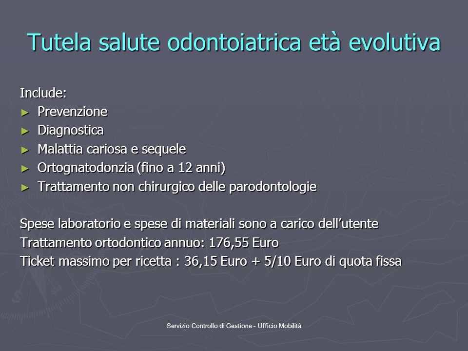 Servizio Controllo di Gestione - Ufficio Mobilità Tutela salute odontoiatrica età evolutiva Include: ► Prevenzione ► Diagnostica ► Malattia cariosa e sequele ► Ortognatodonzia (fino a 12 anni) ► Trattamento non chirurgico delle parodontologie Spese laboratorio e spese di materiali sono a carico dell'utente Trattamento ortodontico annuo: 176,55 Euro Ticket massimo per ricetta : 36,15 Euro + 5/10 Euro di quota fissa