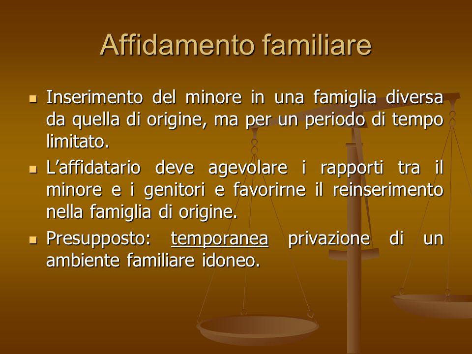 Affidamento familiare Inserimento del minore in una famiglia diversa da quella di origine, ma per un periodo di tempo limitato. Inserimento del minore