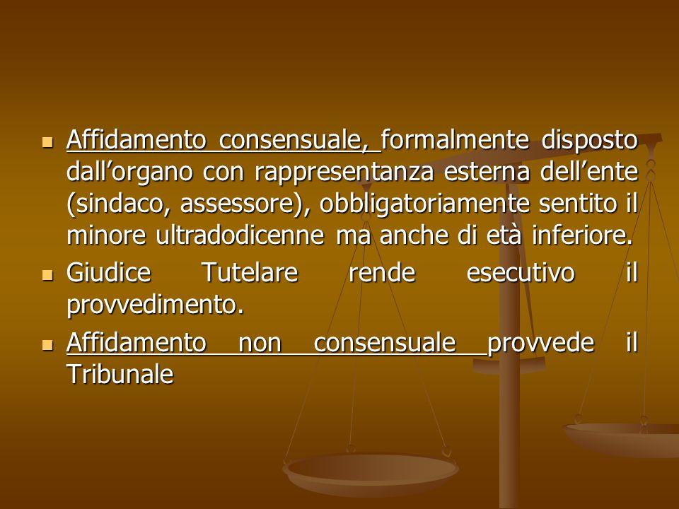 Affidamento consensuale, formalmente disposto dall'organo con rappresentanza esterna dell'ente (sindaco, assessore), obbligatoriamente sentito il mino