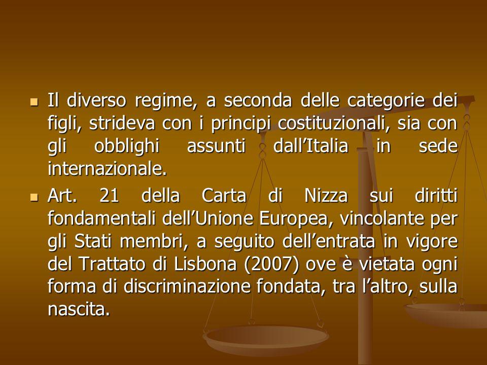 Il diverso regime, a seconda delle categorie dei figli, strideva con i principi costituzionali, sia con gli obblighi assunti dall'Italia in sede inter