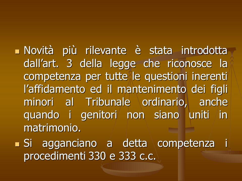 Novità più rilevante è stata introdotta dall'art. 3 della legge che riconosce la competenza per tutte le questioni inerenti l'affidamento ed il manten