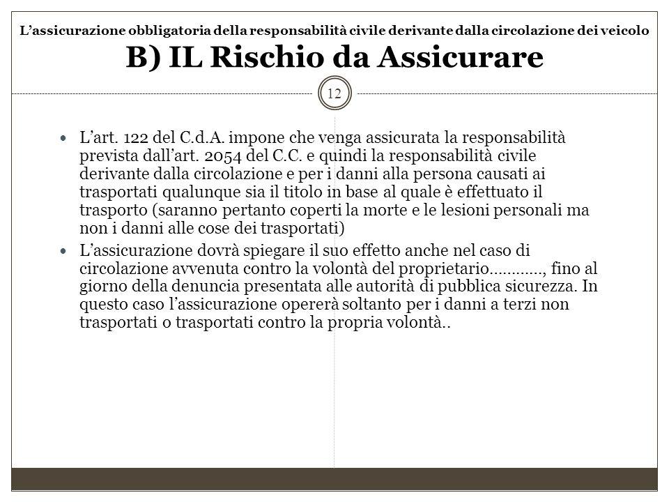 L'assicurazione obbligatoria della responsabilità civile derivante dalla circolazione dei veicolo B) IL Rischio da Assicurare 12 L'art. 122 del C.d.A.