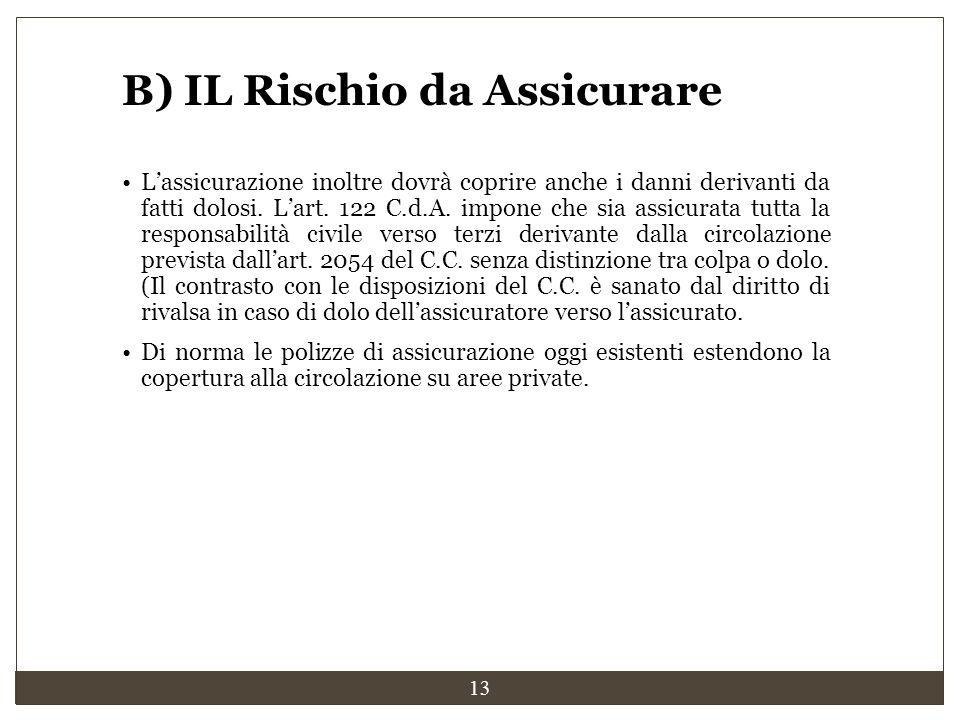 13 B) IL Rischio da Assicurare L'assicurazione inoltre dovrà coprire anche i danni derivanti da fatti dolosi. L'art. 122 C.d.A. impone che sia assicur