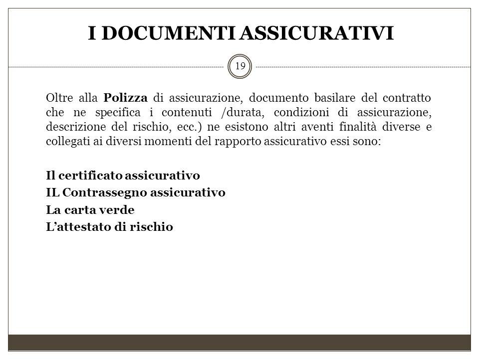 I DOCUMENTI ASSICURATIVI 19 Oltre alla Polizza di assicurazione, documento basilare del contratto che ne specifica i contenuti /durata, condizioni di