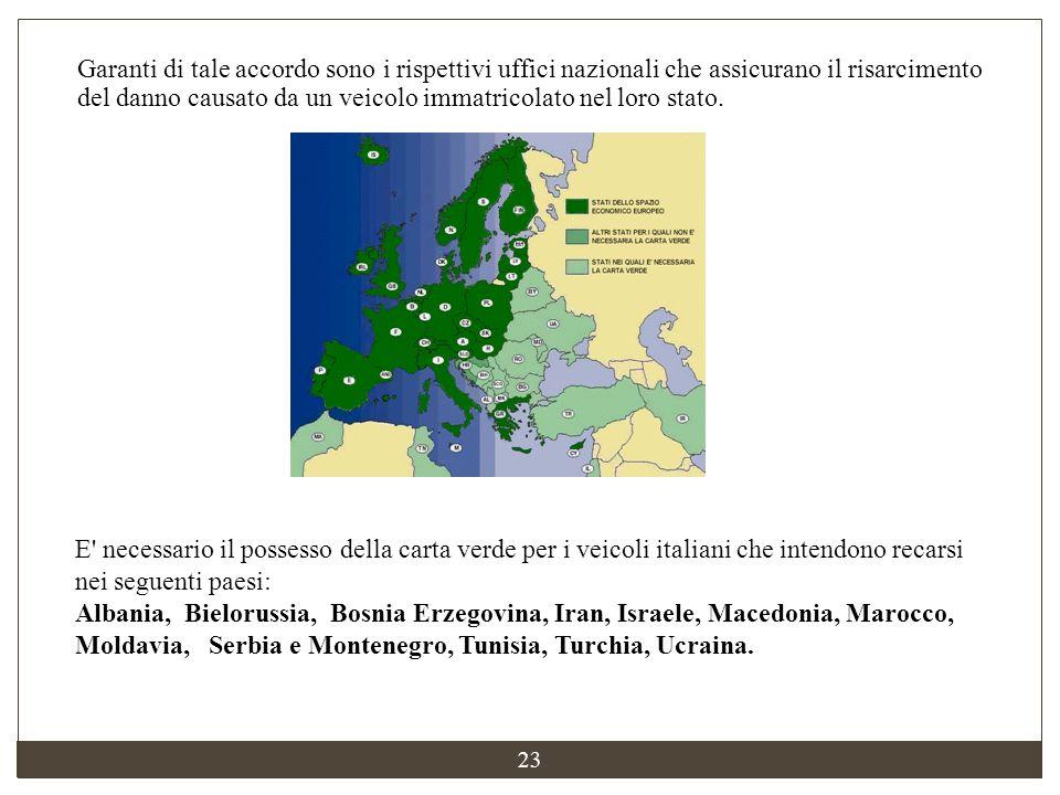 23 E' necessario il possesso della carta verde per i veicoli italiani che intendono recarsi nei seguenti paesi: Albania, Bielorussia, Bosnia Erzegovin