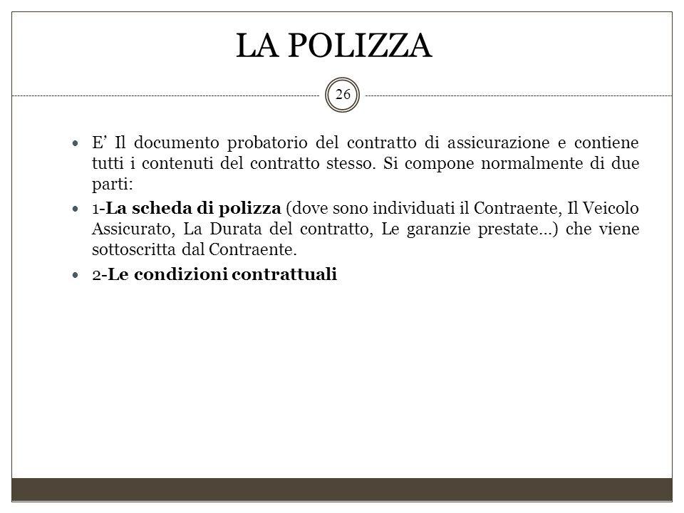 LA POLIZZA 26 E' Il documento probatorio del contratto di assicurazione e contiene tutti i contenuti del contratto stesso. Si compone normalmente di d