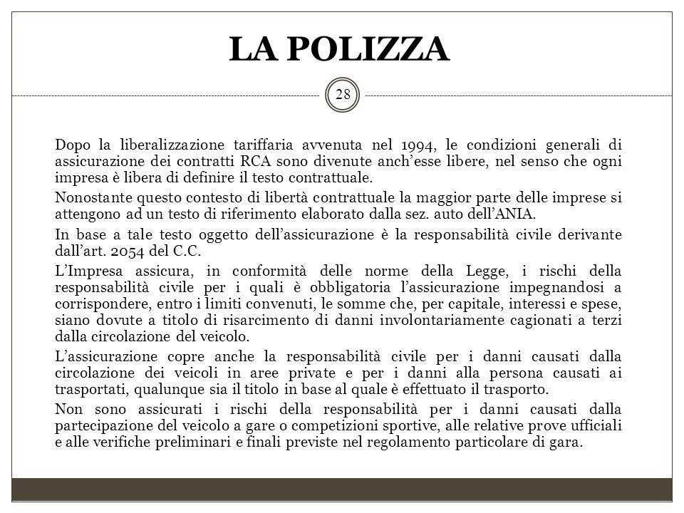 LA POLIZZA 28 Dopo la liberalizzazione tariffaria avvenuta nel 1994, le condizioni generali di assicurazione dei contratti RCA sono divenute anch'esse