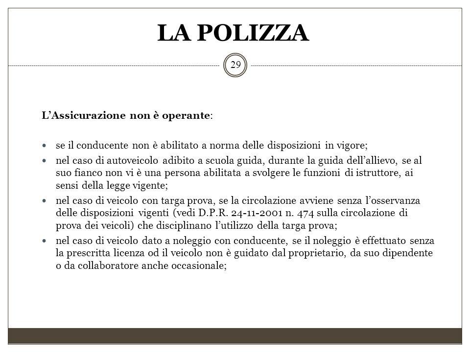 LA POLIZZA 29 L'Assicurazione non è operante: se il conducente non è abilitato a norma delle disposizioni in vigore; nel caso di autoveicolo adibito a