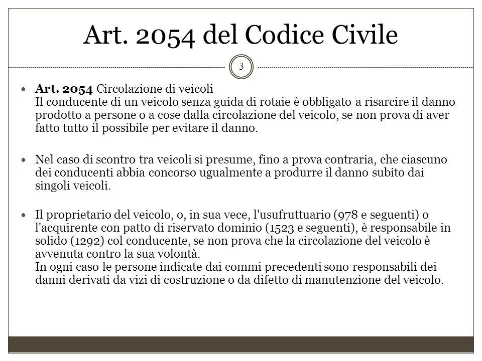 Art. 2054 del Codice Civile 3 Art. 2054 Circolazione di veicoli Il conducente di un veicolo senza guida di rotaie è obbligato a risarcire il danno pro