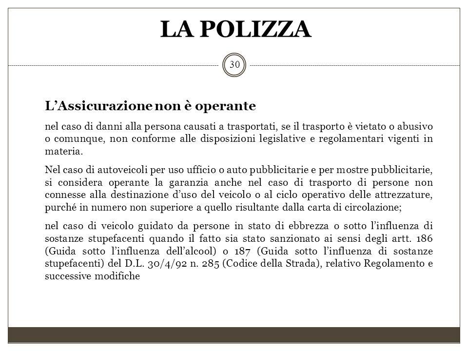 LA POLIZZA 30 L'Assicurazione non è operante nel caso di danni alla persona causati a trasportati, se il trasporto è vietato o abusivo o comunque, non