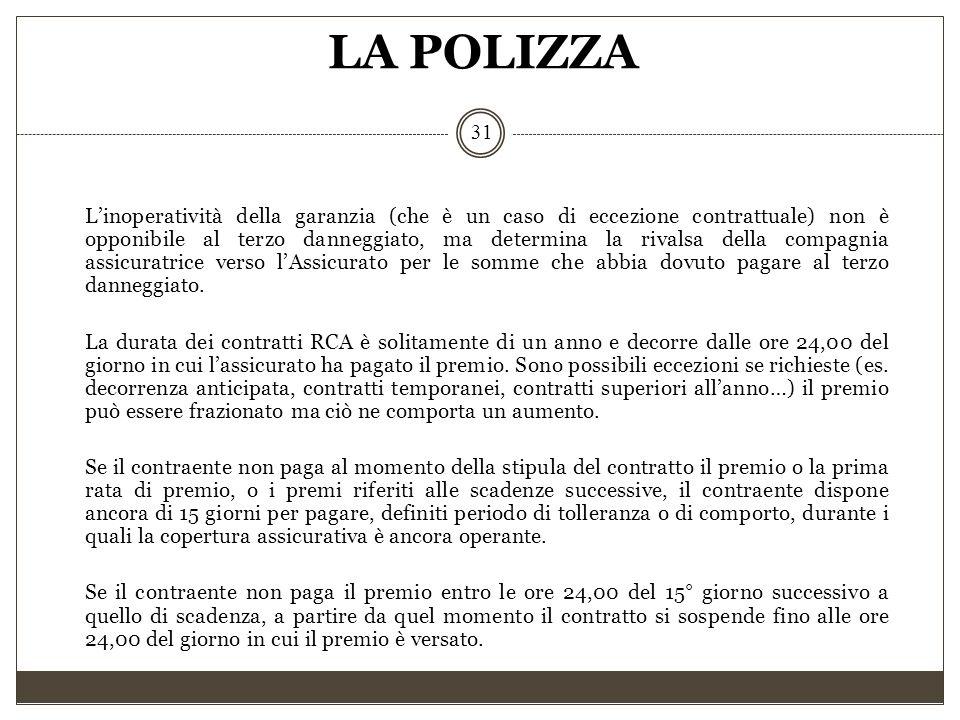 LA POLIZZA 31 L'inoperatività della garanzia (che è un caso di eccezione contrattuale) non è opponibile al terzo danneggiato, ma determina la rivalsa