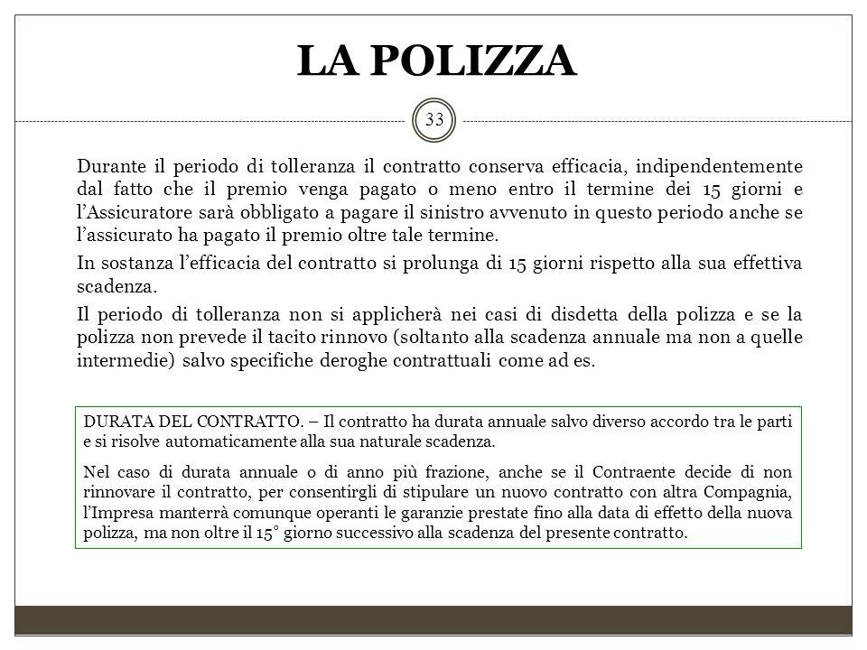LA POLIZZA 33 Durante il periodo di tolleranza il contratto conserva efficacia, indipendentemente dal fatto che il premio venga pagato o meno entro il
