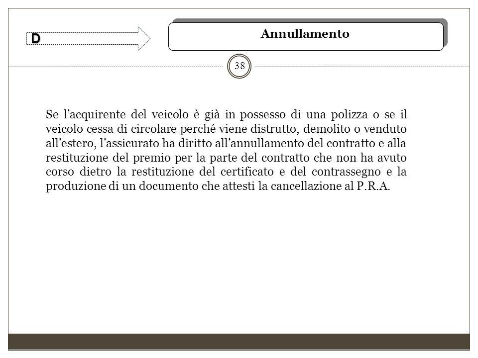 38 Annullamento D Se l'acquirente del veicolo è già in possesso di una polizza o se il veicolo cessa di circolare perché viene distrutto, demolito o v