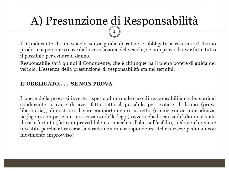 A) Presunzione di Responsabilità Il Conducente di un veicolo senza guida di rotaie è obbligato a risarcire il danno prodotto a persone o cose dalla ci