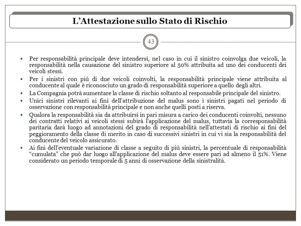 L'Attestazione sullo Stato di Rischio 43 Per responsabilità principale deve intendersi, nel caso in cui il sinistro coinvolga due veicoli, la responsa