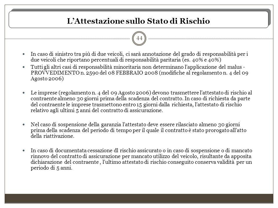 L'Attestazione sullo Stato di Rischio 44 In caso di sinistro tra più di due veicoli, ci sarà annotazione del grado di responsabilità per i due veicoli