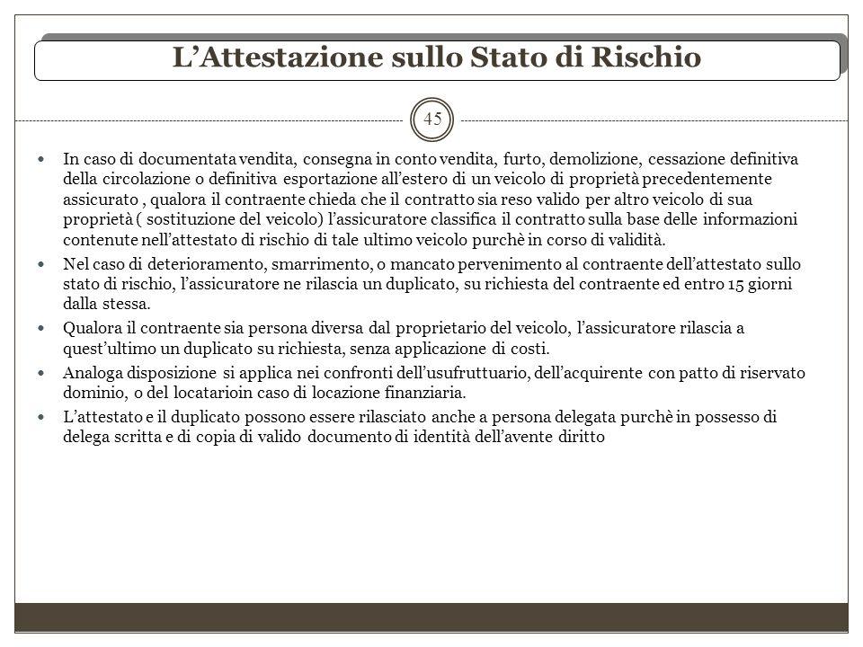L'Attestazione sullo Stato di Rischio 45 In caso di documentata vendita, consegna in conto vendita, furto, demolizione, cessazione definitiva della ci