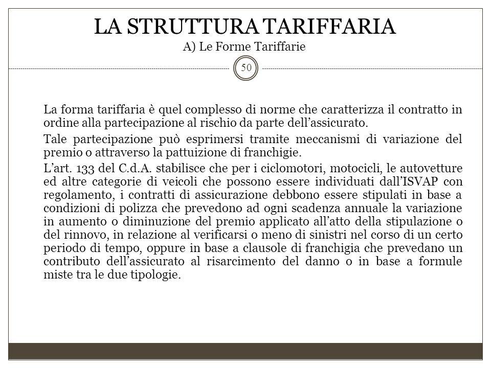 LA STRUTTURA TARIFFARIA A) Le Forme Tariffarie 50 La forma tariffaria è quel complesso di norme che caratterizza il contratto in ordine alla partecipa