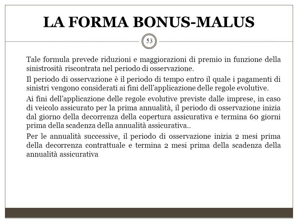 LA FORMA BONUS-MALUS 53 Tale formula prevede riduzioni e maggiorazioni di premio in funzione della sinistrosità riscontrata nel periodo di osservazion
