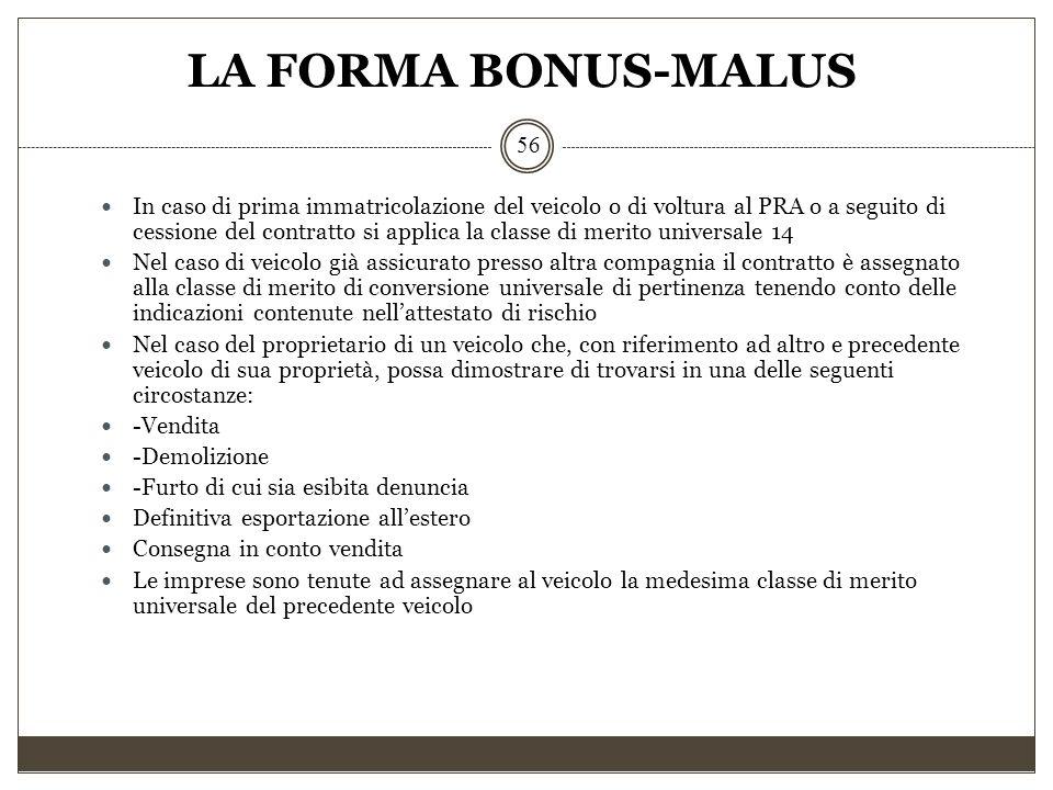 LA FORMA BONUS-MALUS 56 In caso di prima immatricolazione del veicolo o di voltura al PRA o a seguito di cessione del contratto si applica la classe d