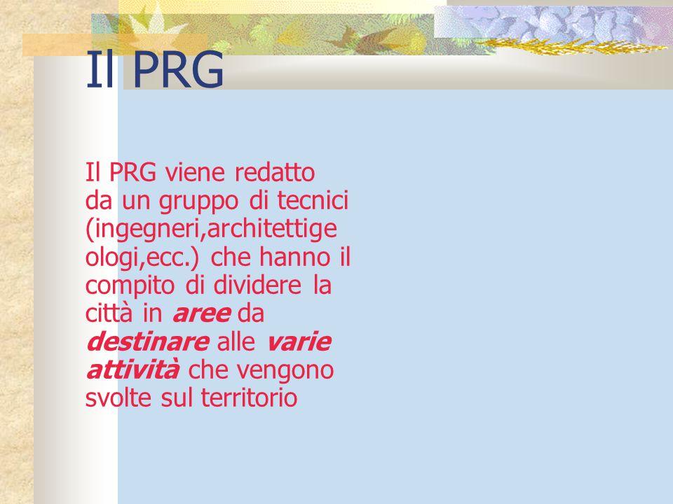 Il PRG Il PRG viene redatto da un gruppo di tecnici (ingegneri,architettige ologi,ecc.) che hanno il compito di dividere la città in aree da destinare