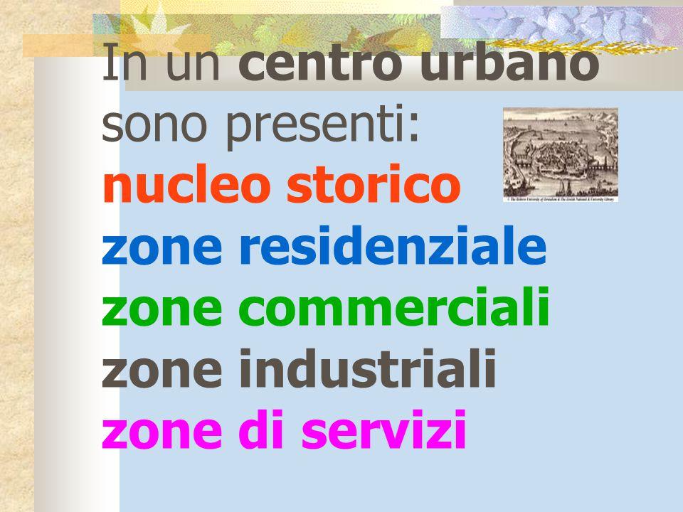 In un centro urbano sono presenti: nucleo storico zone residenziale zone commerciali zone industriali zone di servizi