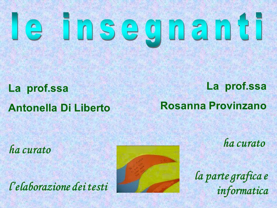 La prof.ssa Antonella Di Liberto La prof.ssa Rosanna Provinzano ha curato l'elaborazione dei testi la parte grafica e informatica