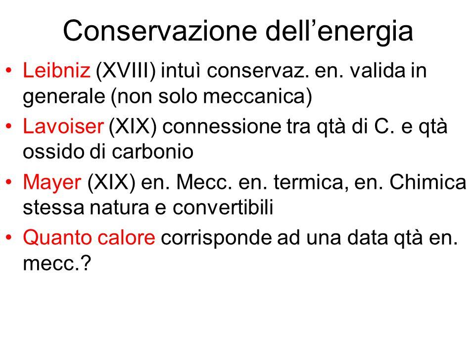 Conservazione dell'energia Leibniz (XVIII) intuì conservaz. en. valida in generale (non solo meccanica) Lavoiser (XIX) connessione tra qtà di C. e qtà