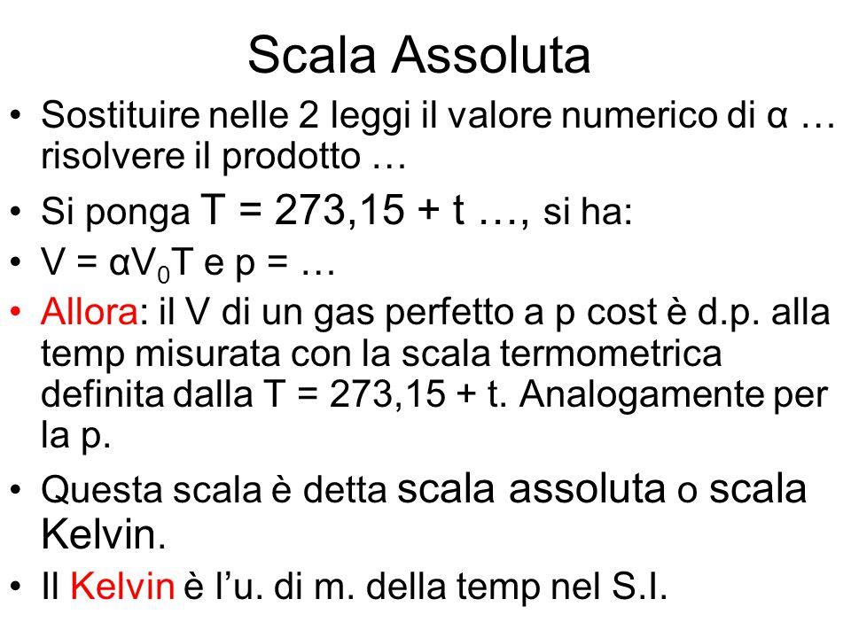 Scala Assoluta Sostituire nelle 2 leggi il valore numerico di α … risolvere il prodotto … Si ponga T = 273,15 + t …, si ha: V = αV 0 T e p = … Allora: