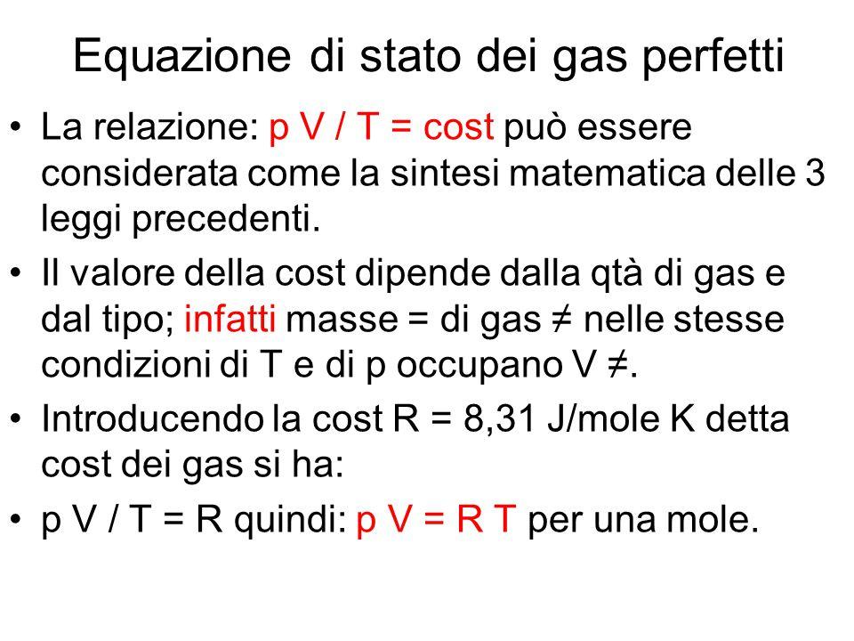 Equazione di stato dei gas perfetti La relazione: p V / T = cost può essere considerata come la sintesi matematica delle 3 leggi precedenti. Il valore