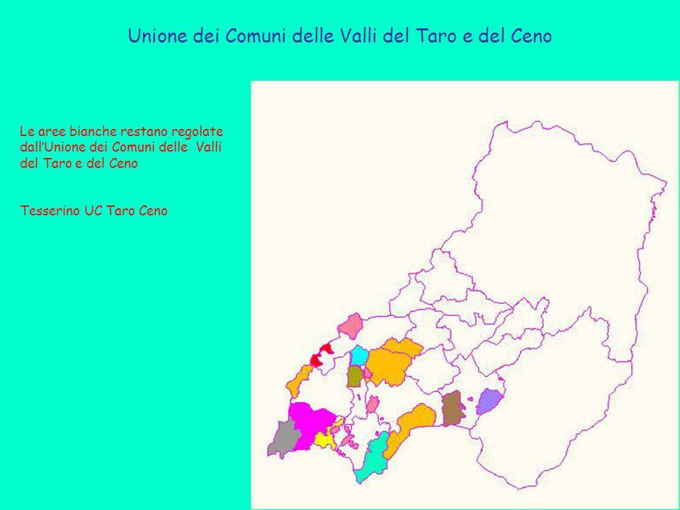 Unione dei Comuni delle Valli del Taro e del Ceno Le aree bianche restano regolate dall'Unione dei Comuni delle Valli del Taro e del Ceno Tesserino UC Taro Ceno