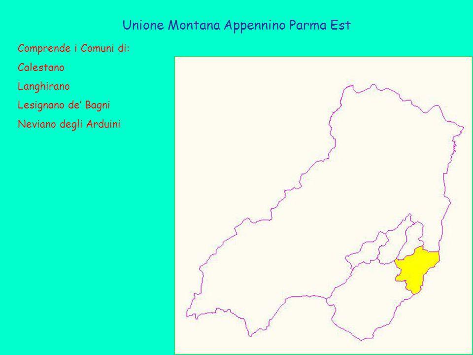 Unione Montana Appennino Parma Est Comprende i Comuni di: Calestano Langhirano Lesignano de' Bagni Neviano degli Arduini