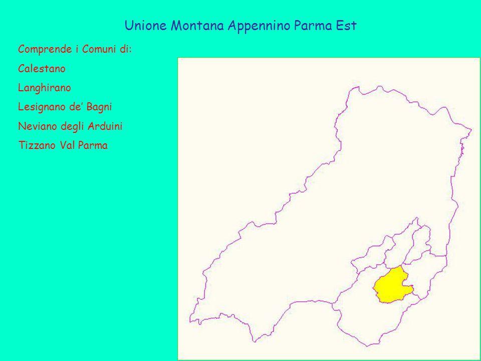 Unione Montana Appennino Parma Est Comprende i Comuni di: Calestano Langhirano Lesignano de' Bagni Neviano degli Arduini Tizzano Val Parma