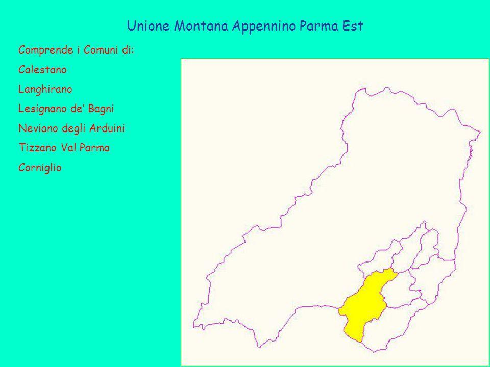 Unione Montana Appennino Parma Est Comprende i Comuni di: Calestano Langhirano Lesignano de' Bagni Neviano degli Arduini Tizzano Val Parma Corniglio