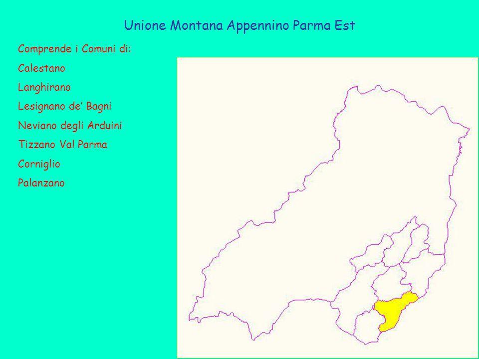 Unione Montana Appennino Parma Est Comprende i Comuni di: Calestano Langhirano Lesignano de' Bagni Neviano degli Arduini Tizzano Val Parma Corniglio Palanzano