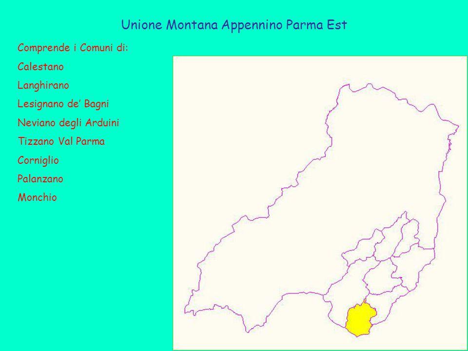 Unione Montana Appennino Parma Est Comprende i Comuni di: Calestano Langhirano Lesignano de' Bagni Neviano degli Arduini Tizzano Val Parma Corniglio Palanzano Monchio