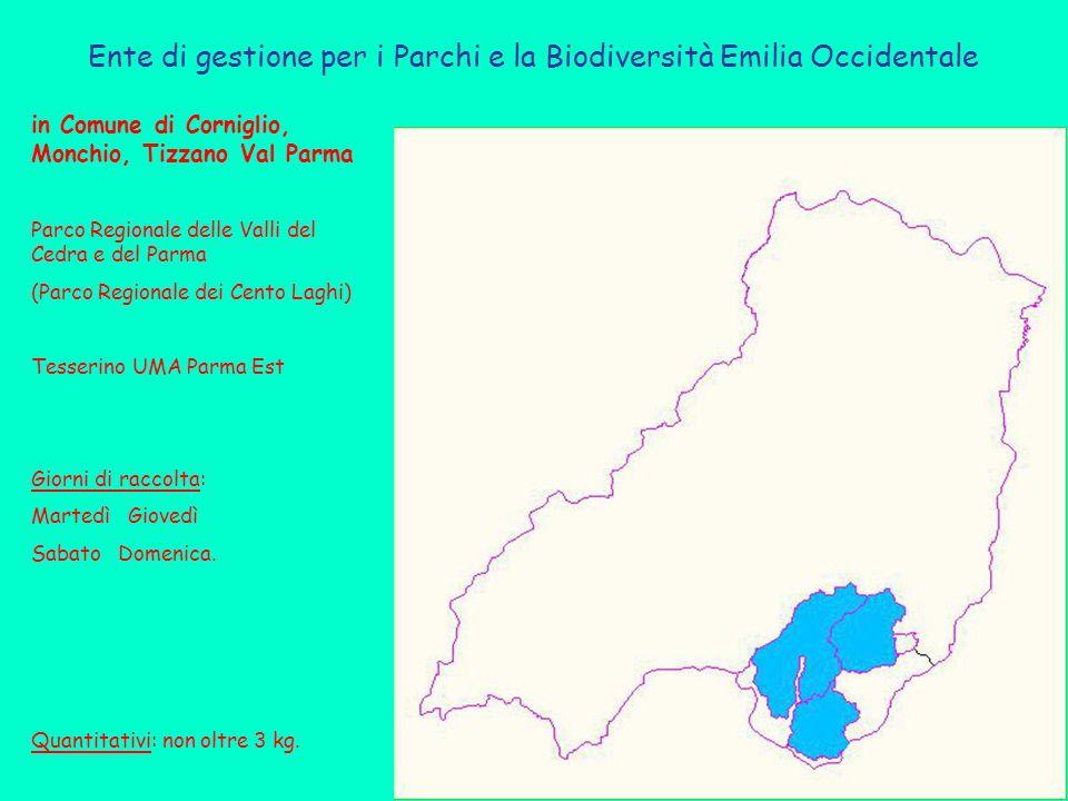 in Comune di Corniglio, Monchio, Tizzano Val Parma Parco Regionale delle Valli del Cedra e del Parma (Parco Regionale dei Cento Laghi) Tesserino UMA Parma Est Giorni di raccolta: Martedì Giovedì Sabato Domenica.