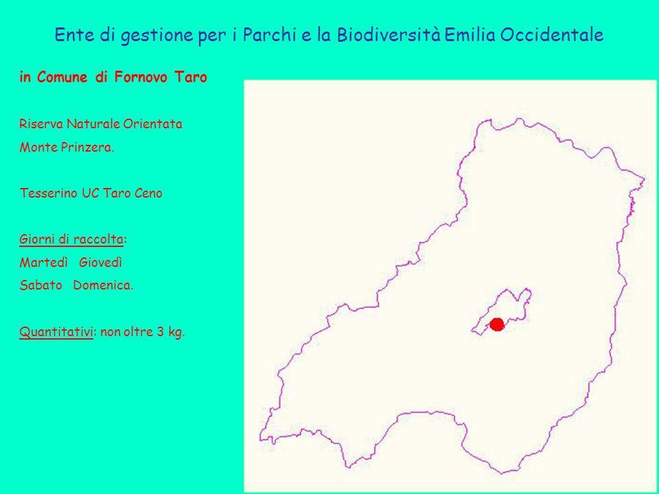 Ente di gestione per i Parchi e la Biodiversità Emilia Occidentale in Comune di Fornovo Taro Riserva Naturale Orientata Monte Prinzera. Tesserino UC T