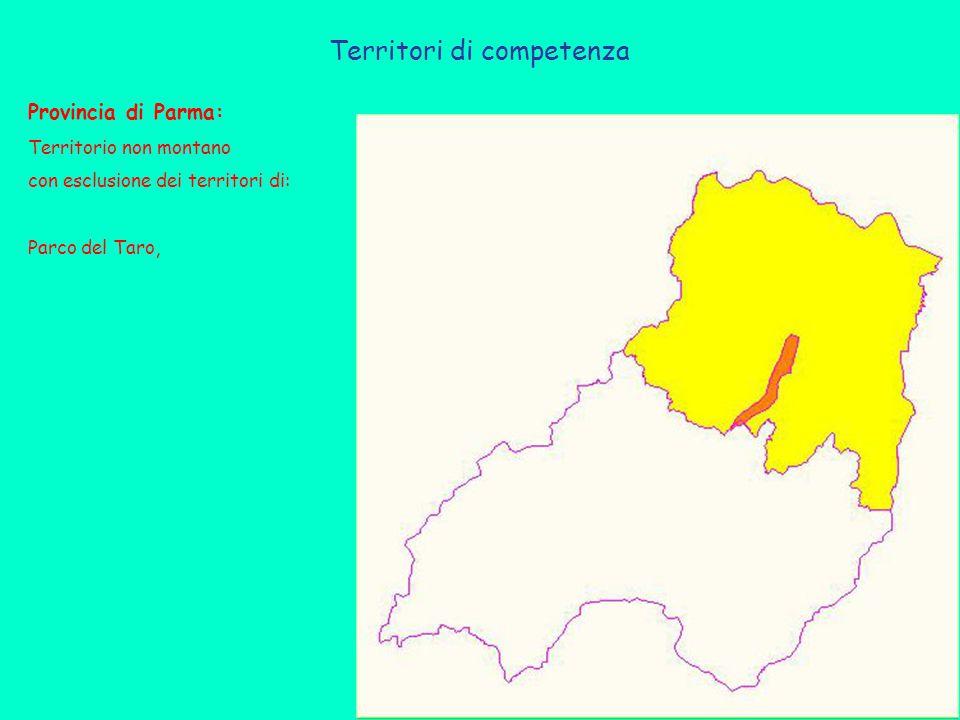 Territori di competenza Provincia di Parma: Territorio non montano con esclusione dei territori di: Parco del Taro,